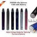 Vision eGo Spinner 1300mAh Variable Volt Battery, White